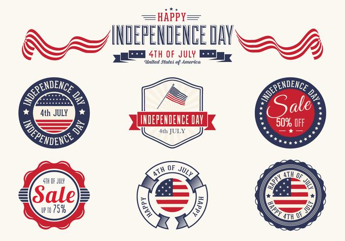 4th of July Badges PSD Set