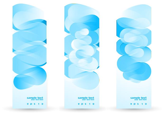 Funky Blue Abstract Banner PSD Set