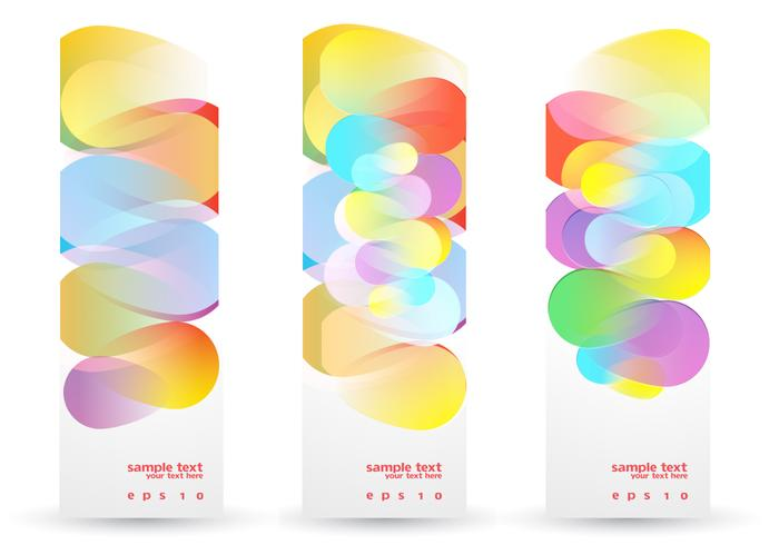Colorful Funky Banners Ensemble PSD