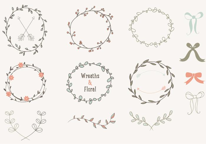 Hand Drawn Laurels Wreaths PSD Collection