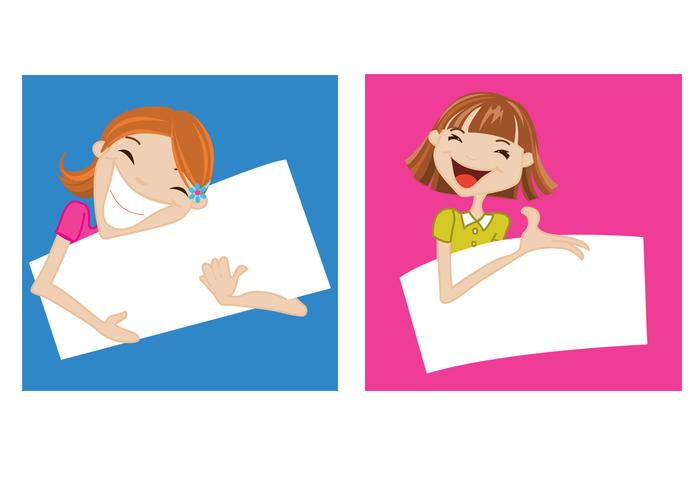 Happy Girls Holding Banners PSD Set