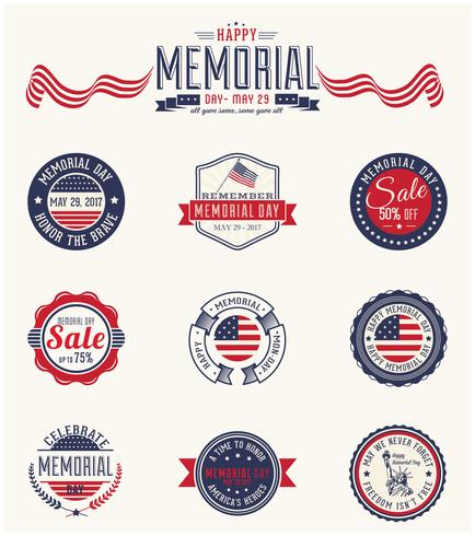Insignias del Memorial Day PSD Pack