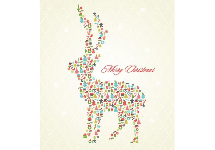Retro Christmas Reindeer Background