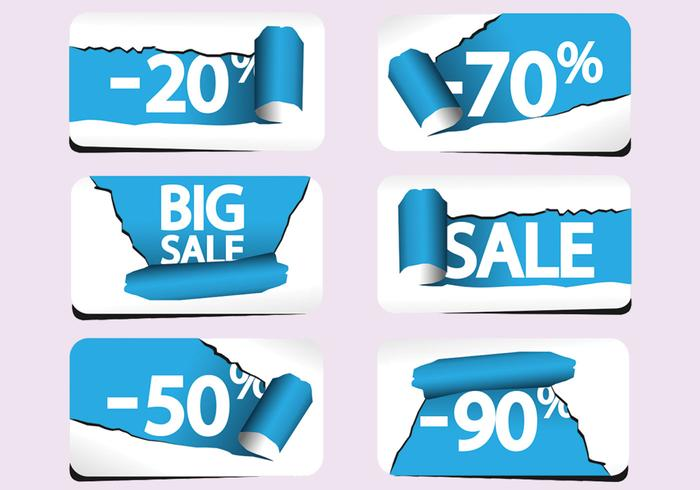 Torn Paper Sale Labels PSD Pack