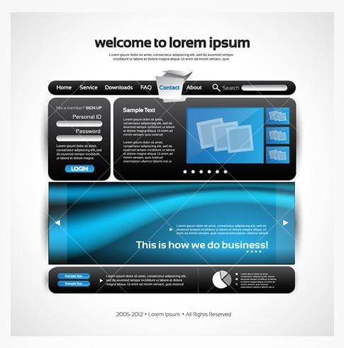 Sleek Blue and Black Website Vector Template