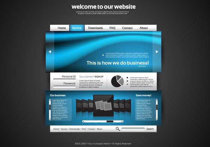 Silver och Blue Website PSD Template