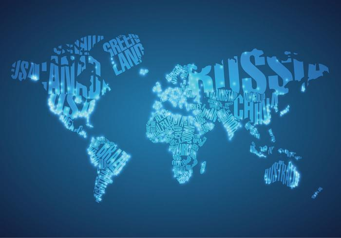 Big City Lights on World Map PSD