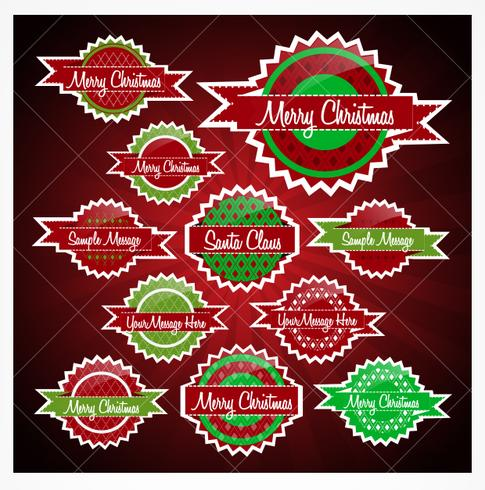 Badges de Noël rouges et verts PSD Pack