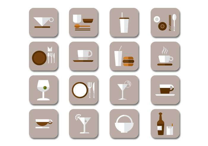 Flat Drink Icons PSD Kollektion