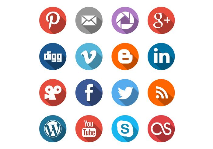 Round Social Media Icons PSD Set