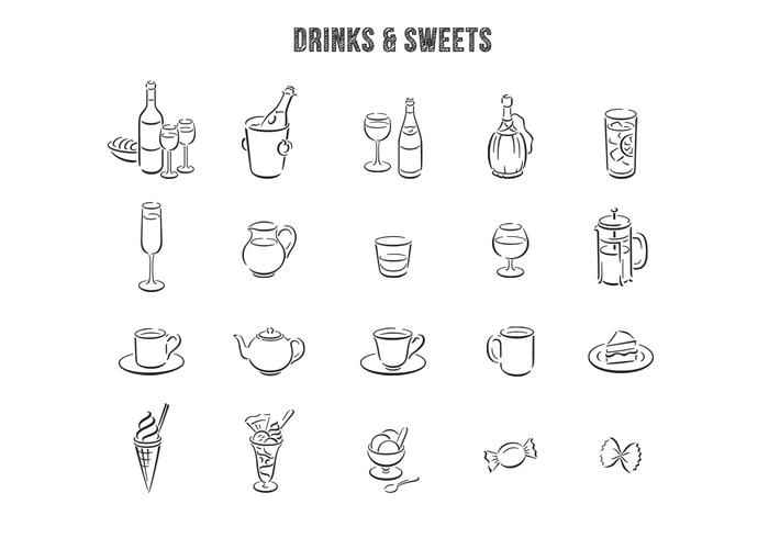 Hand Drawn Drinks Desserter PSD Set