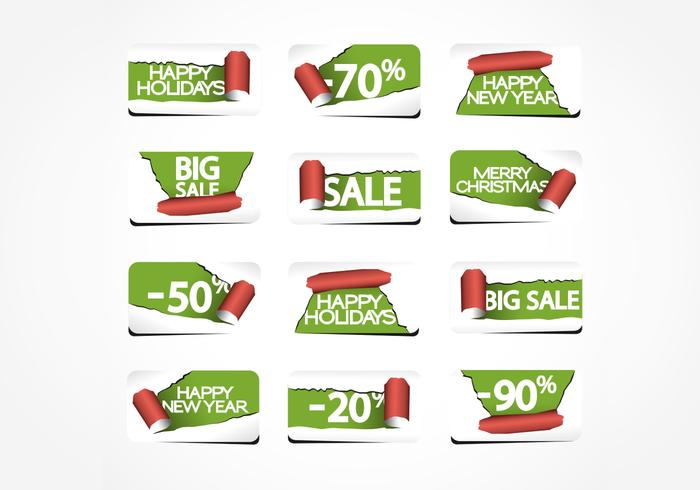 Zerrissenes Papier Holiday Labels PSD Pack