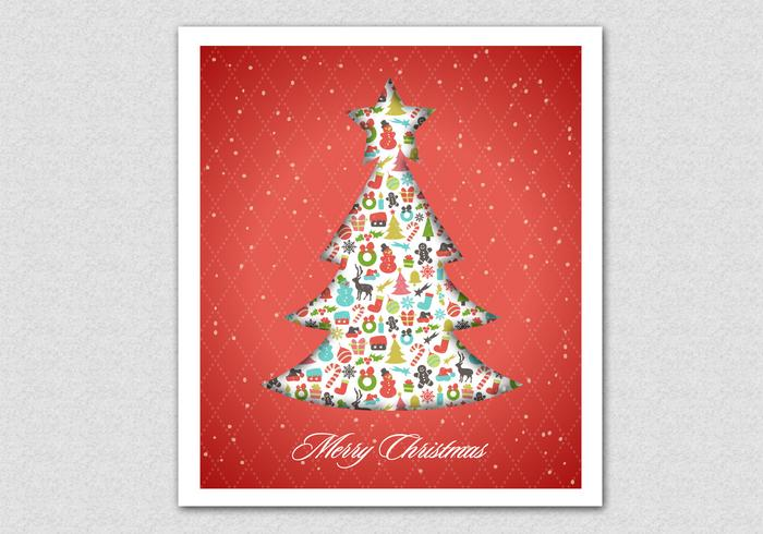 Red Patterned Christmas Tree PSD Background