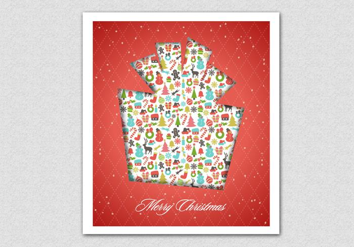Red Patterned Christmas Gift PSD Background