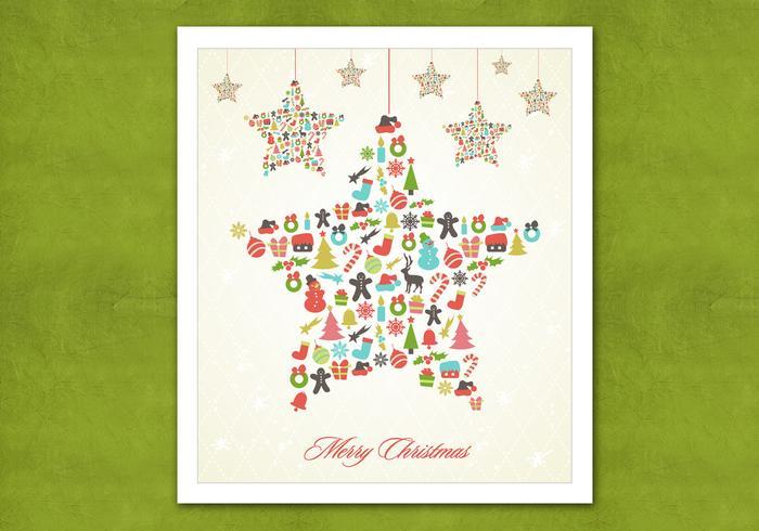 Retro Hanging Christmas Star PSD Background