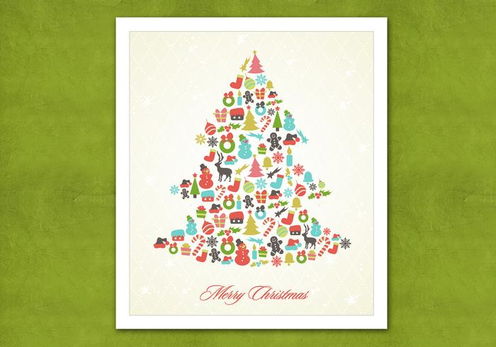 Retro Christmas Tree PSD Background