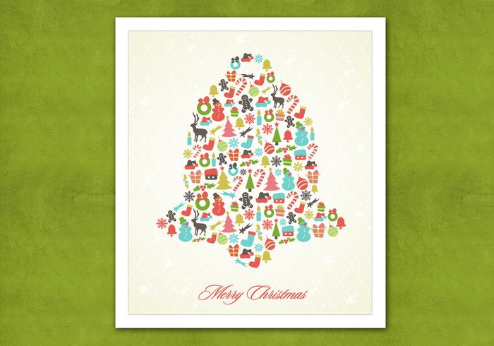 Retro Christmas Bell PSD Background