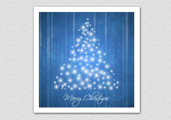 Blue Sparkling Christmas Tree Background