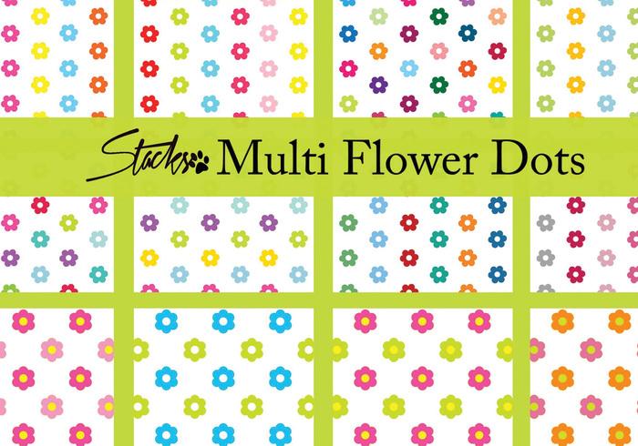 Padrões de pontos de flores multicoloridas