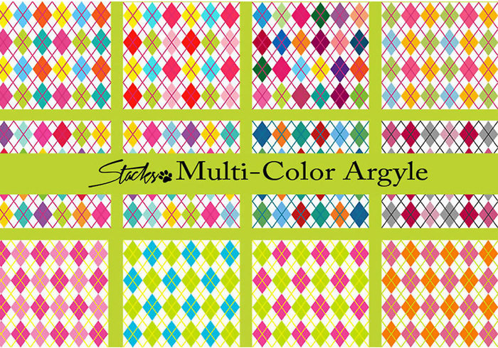 Bright Multi-Color Argyle Patterns