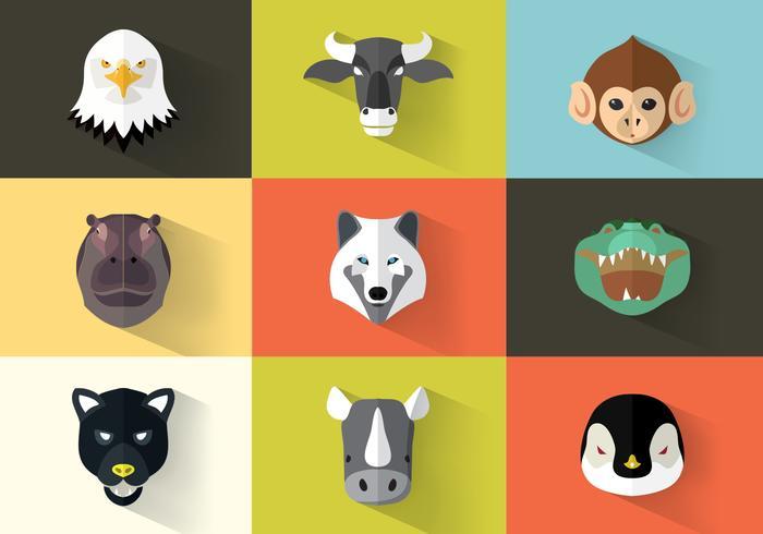 Ensemble d'objets carrés d'animaux carrés PSD