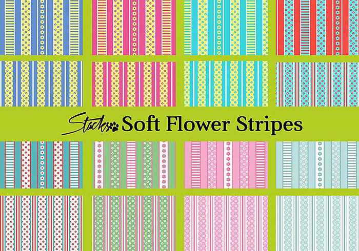 Soft Flower Pattern with Stripes