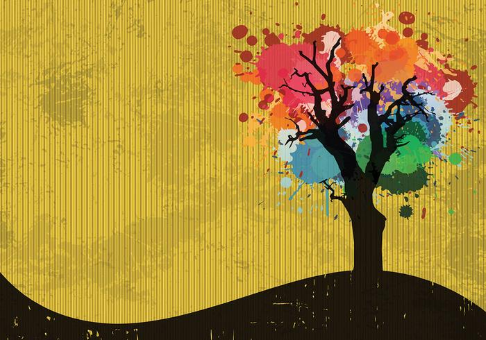 Paint splatter tree psd