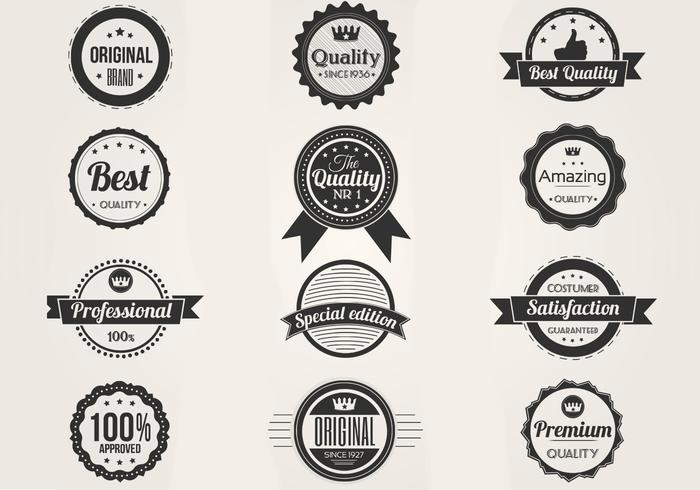 Zwart-wit Premium Badges PSD Set