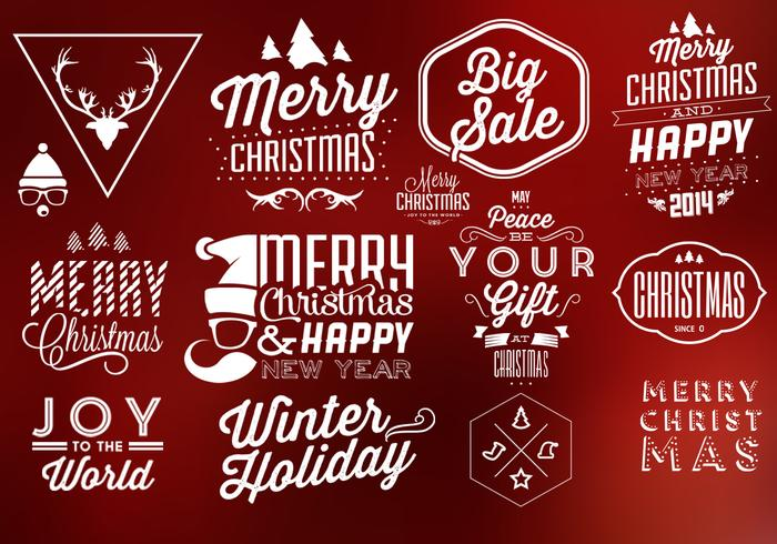 Typographic Christmas PSD Elements - Free Photoshop Brushes