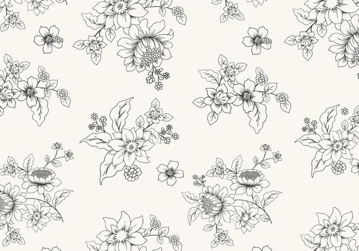 Hand Drawn Black and White Floral Wallpaper