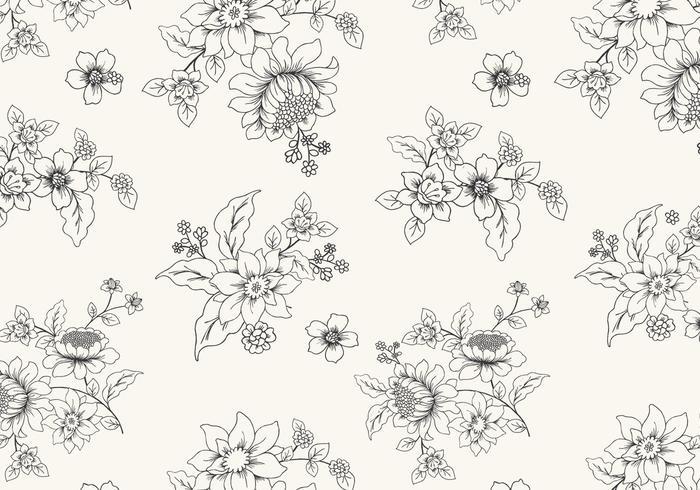 Papel de parede floral preto e branco desenhado a mão