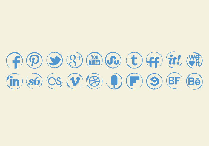 Grungy Stamp Icons PSD Set