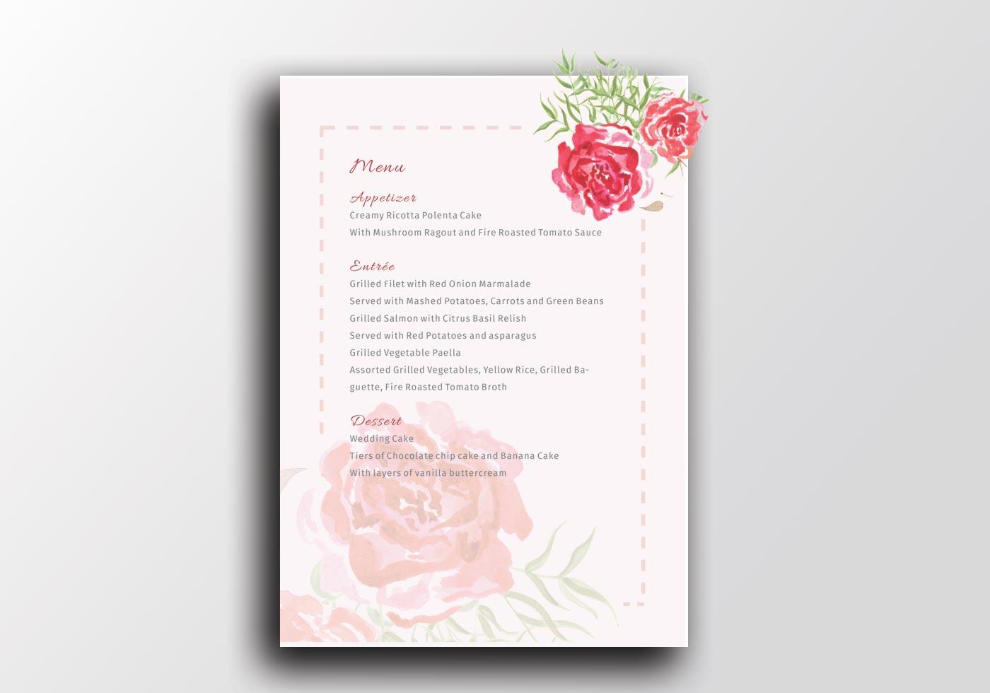 Aquarell-Hochzeits-Druck-Menü-Schablone A5 - der Geruch der Rosen ...