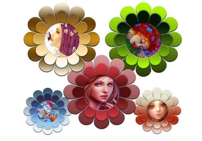 Funky Flower Frames PSD