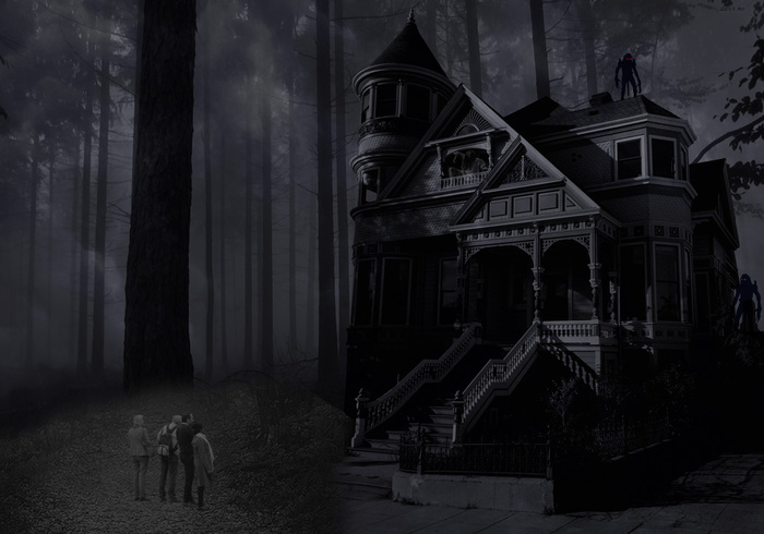 Hemsökt hus bakgrund