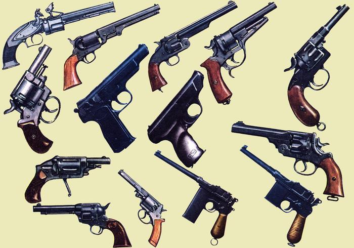 Militärische Ausrüstung - Pistolen und Pistolenbürsten