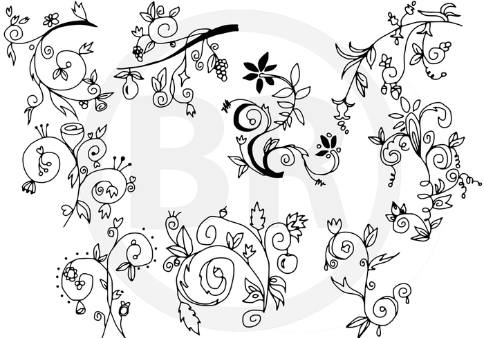 In Blossom - Hand drawn floral brushes