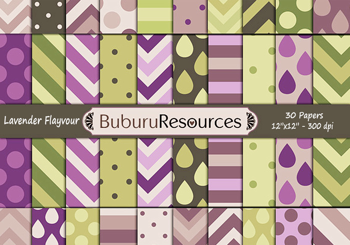 Lavender Flavour green and violet digital papers