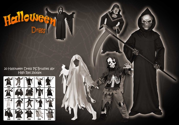 20 Halloween Dress Up PS Brushes abr