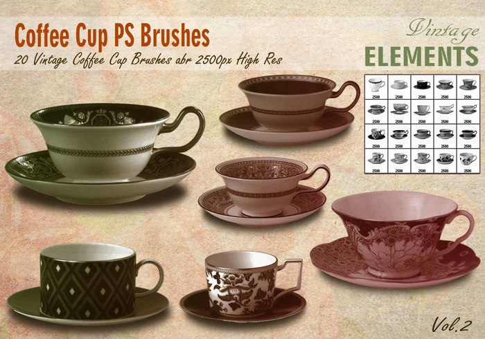 Vintage Coffee Cup Brushes abr.