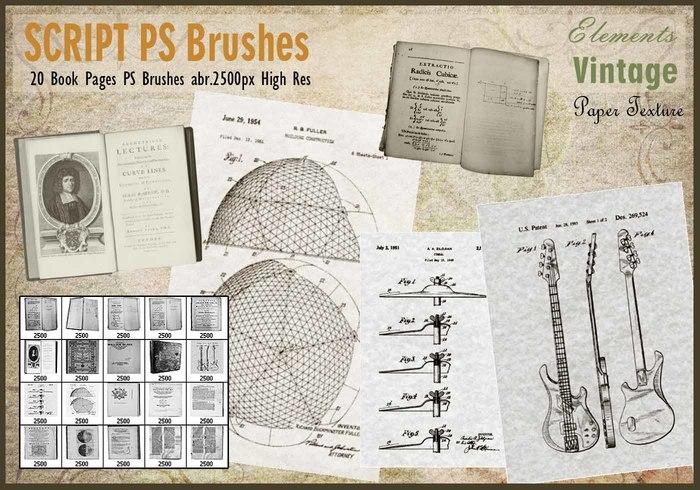 Páginas de libro vintage PS Pinceles abr.