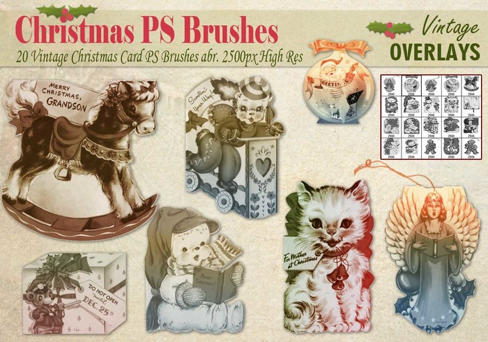Carte de Noël vintage PS Brushes abr.