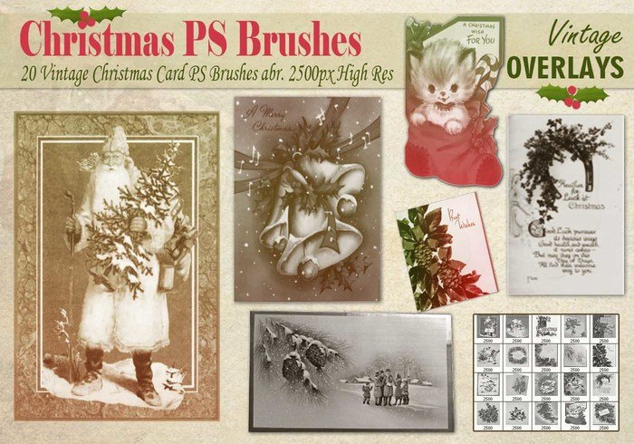 Carte de Noël vintage PS Brushes abr