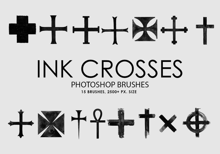 Free Ink Crosses Photoshop Brushes