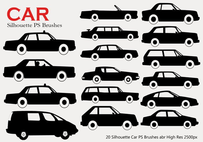 20 Car Silhouette PS Brushes