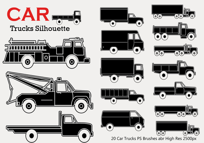 20 Car Truck Silhouette PS Brushes
