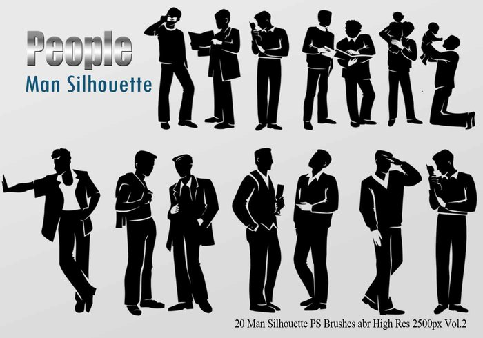 20 Man Silhouette PS Brushes vol.2