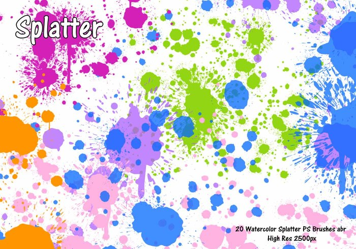 Waterverf Splatter PS Borstels abr