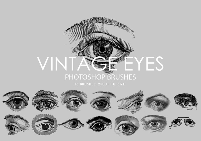 Free Vintage Eyes Pinceles para Photoshop