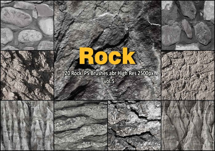 20 Rock Texture PS Brushes abr vol.5